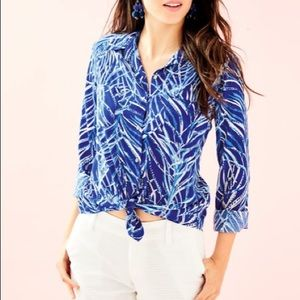 """Lilly Pulitzer Twilight Blue """"Early Riser"""" Blouse"""